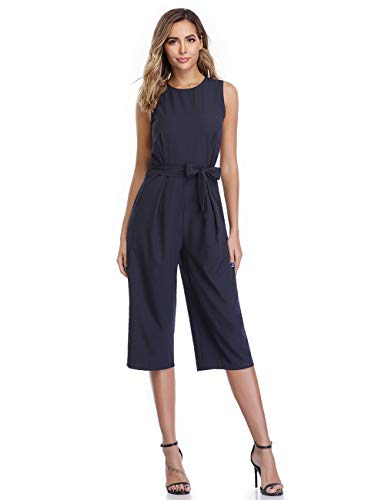 - Dilgul Casual Jumpsuits for Women Sleeveless High Waisted Belted Seven Point Business Playsuit Romper with Pockets Blue M