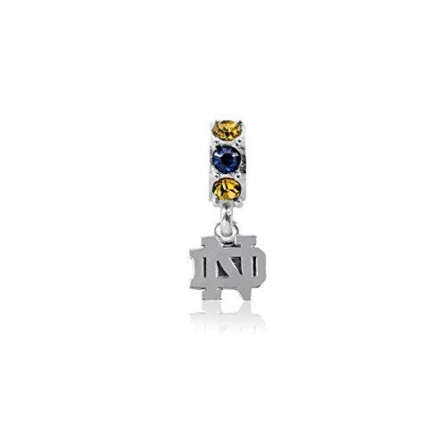 Dayna U University of Notre Dame Fighting Irish UND Sterling Silver Jewelry (Crystal Charm Bead)