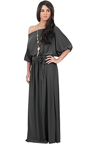 KOH KOH Plus Size Womens Long Sexy One Off Shoulder Flowy Casual 3/4 Short Sleeve Cocktail Wedding Party Guest Maternity Gown Gowns Maxi Dress Dresses, Dark Gray Grey 4 X 26-28