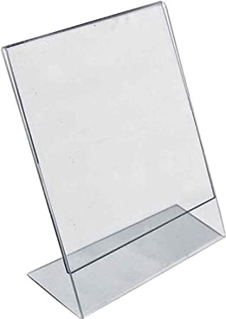 Azar Displays 112740 3-1/2-Inch by 2-1/2-Inch Horizontal Slanted L-Shape Acrylic Sign Holder, 10 Count