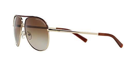 Armani Exchange Metal Unisex Polarized Aviator Sunglasses, Light Gold/Dark Brown, 61 mm by A X Armani Exchange (Image #3)