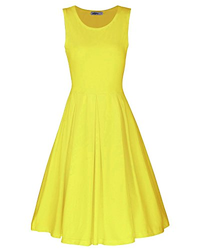 STYLEWORD Women's Sleeveless Casual Cotton Flare Dress(Yellow,M) -