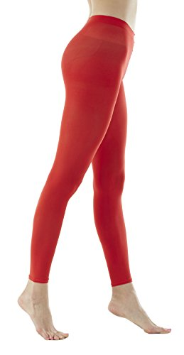 Women's 80Denier Semi Opaque Solid Color Footless Pantyhose Tights 2pair or 6pair (S/M, Red) ()