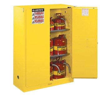 Justrite 45 Gallon Cabinet Manual Door Flammable Safe Sure-Grip EX, Yellow