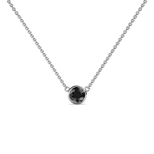 TriJewels Round Black Diamond 0.33 ct Bezel Set 4.4mm Womens Solitaire Pendant Necklace 14K White Gold with 16 Inches Gold Chain ()