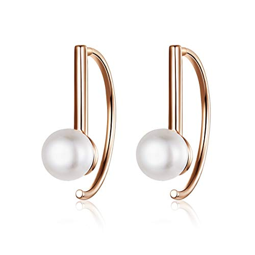 Pearl Drop Dangle Earrings For Women S925 Sterling Silver Freshwater Cultured Pearl Girls Hook Earring Jewelry - Hook Drop Earrings Silver