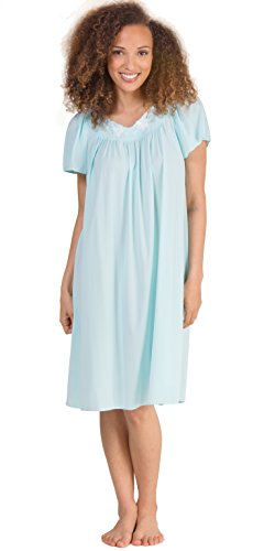Miss Elaine Nylon Classics Short Nightgown - Flutter Sleeve Gown In Seafoam