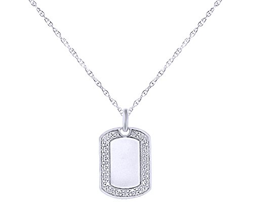 Wishrocks Natural Diamond Accent Initial Dog Tag Pendant Necklace in 14K White Gold Over Sterling Silver