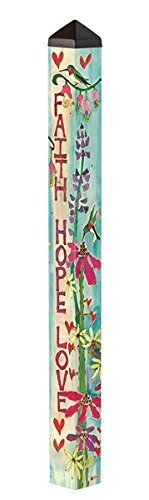 Studio M Garden Art Pole Fade-Resistent Outdoor Décor, 4-Feet Tall, Faith, Hope and Love (Love Pole)
