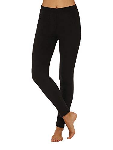 Cuddl Duds ClimateRight Womens Stretch Fleece Warm Underwear Leggings/Pants (L, Truest Black) (Cuddl Duds Black Long Underwear)