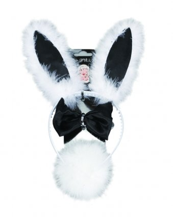 Fancy Dress Party Bunny Set (3 Piece) Black And White Pams C15178 GTL