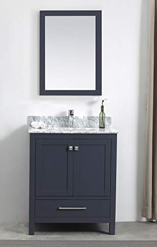 - 30'' Contemporary-Style Bathroom Vanity Unit by Luende - Solid Wood Cabinet with Natural Carrara Marble Top Model LF-1901-30-02