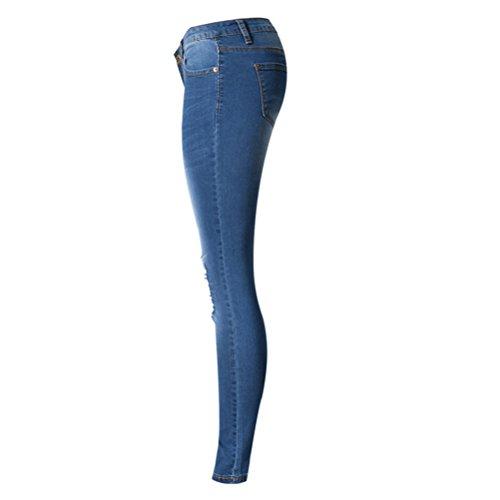 Strappato Tessuto Donna Zhuhaitf Lungo Vita Pants Denim Magro Jeans Le Bassa Blu Estate Signore A Pantaloni Rddwzf