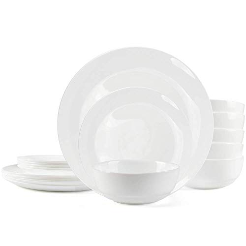 Dinnerware Set Danmers 18-piece Opal Dishes Sets Service for 6 Plates Bowls 5.5