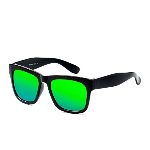Cramilo E13 Hipster Thick Frame Square Wayfarer Sunglasses (Black - Green, - To Similar Ban Sunglasses Ray Wayfarer