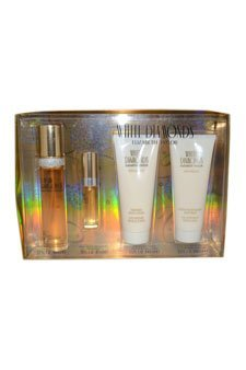 White Diamonds by Elizabeth Taylor for Women - 4 Pc Gift Set 1.7oz EDT Spray, 0.33oz EDT Spray, 3.3oz Perfumed Body Lotion, 3.3oz Gentle Moisturizing Body Wash - Moisturizing Body Wash White Diamonds