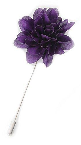 Flairs New York Gentleman's Essentials Premium Handmade Flower Lapel Pin Boutonniere (Pack of 1 Pin, Violet Purple - Boutonniere Purple