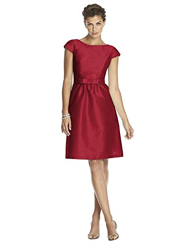 Alfred Sung Women's Cocktail Length Dupioni Bateau Neck Dress with Bow by Barcelona - Size ()