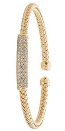 Bracelet Jonc en argent sterling 925plaqué rhodium Taille S