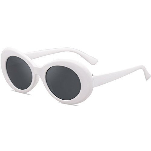TEDDITH Clout Goggles Oval Sunglasses Rapper Kurt Cobain Style Retro MOD Shades White Frame Dark Lens with Beaded Glasses - Shades Cobain