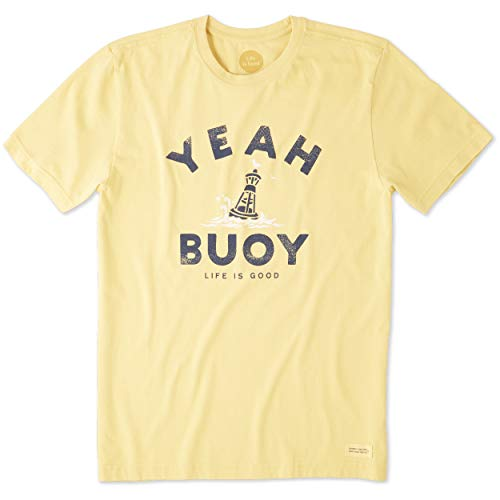 Life is Good Men's Crusher tee Yeah Buoy, Baja Yellow, Medium