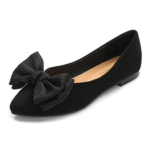 Hee grand Women's Comfortable Bow Point Toe Slip On Ballet Flat Dress Shoes Soft and Basic Dress Shoes Foldable Wedding Shoes Pointed Slip On Loafer Black 8.5