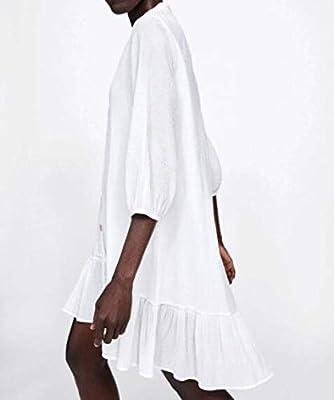 DAIDAILYQ Camisa Blanca Vestido con Botones hasta Dobladillo Plisado Mini Vestido Mangas Sueltas De Tres Cuartos: Amazon.es: Deportes y aire libre