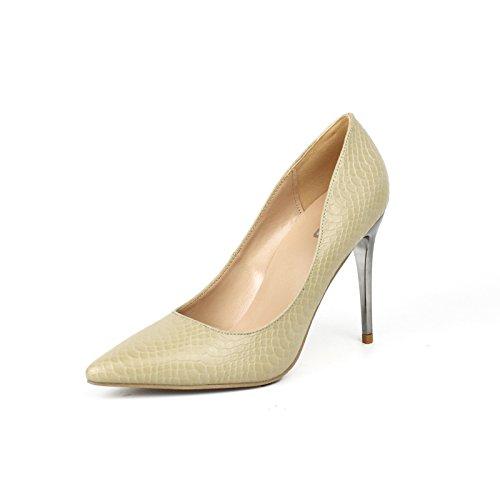 GAOLIM Zapatos De Tacón Alto Chica Fina con Punta Negra De Alta Profesional Zapatos De Tacón Mujer La Luz Solo Zapatos con Alto (Mayor de 8 Cm) Beige de 10cm.