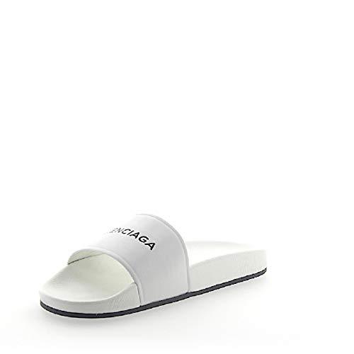 Balenciaga Logo Pelle S. Gomma Flat Pool Slide Sandals White 39