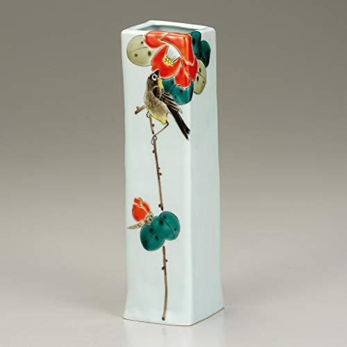 Ikebana flower vase. Camellia and mejiro.Japanese porcelain Kutani ware. ktn-k6-1235 ()