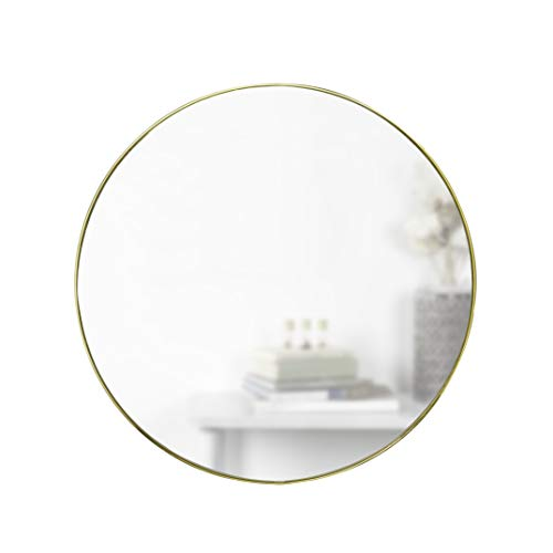 Umbra, Brass Hubba 34 Inch Round Entryways, Bathrooms, Living Rooms and More, - Large Brass Bathroom Mirrors