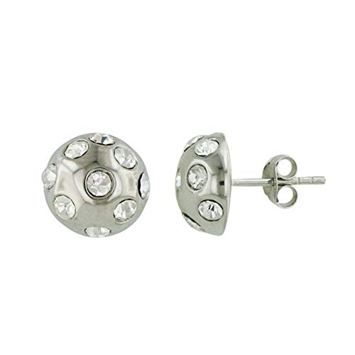 (925 Solid Sterling Silver Cubic Zirconia Mushroom Stud Earrings -CZ Ball Round Jewelry - Women, Unisex )