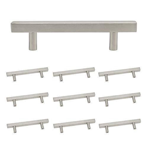 Kitchen Cabinet Square Bar Handle Pulls Brushed Satin Nickel Finish, 3-3/4 inch Hole Center,Overall Length 6