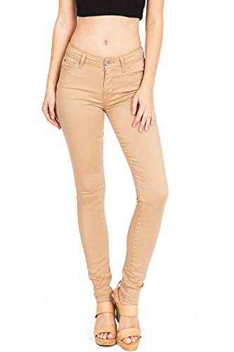 Celebrity Pink Women's Juniors Mid-Rise Jeggings Fit Skinny Pants (3, Tan)
