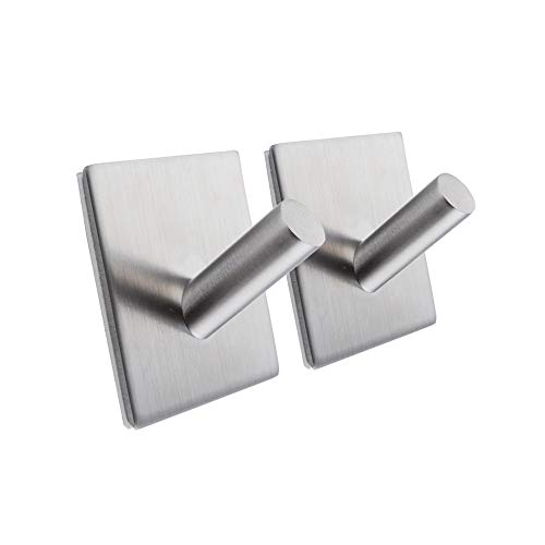 (Kes 3M Self Adhesive Hooks SUS 304 Stainless Steel Heavy Duty Small Coat Picture Hook Self Sitck On Wall Hook Sticky Brushed Finish 2 Pieces, A7063-2-P2)