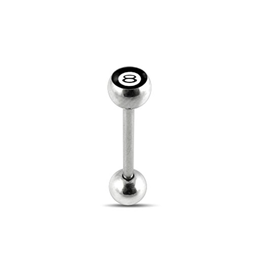Black No.8 Logo Tongue Ring. 14Gx7/8(1.6x22mm) 316L Surgical Steel Barbell with 6/6mm Ball Tongue Piericng jewelry. Price per 1 Piece only.