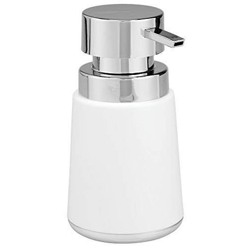mDesign Modern Plastic Refillable Liquid Soap Dispenser Pump Bottle for Bathroom Vanity Countertop, Kitchen Sink - Holds Hand Soap, Dish Soap, Hand Sanitizer, Essential Oils - White/Chrome (Soap Pedestal Dispenser Sink)