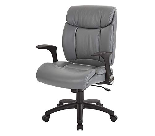 Оfficе Stаr Padded Faux Leather Seat and Back Managers Chair with Flip Arms, Grey
