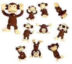 Monkey Figures 40 Tiny Little Plastic Animals Mini Chimp Small Party Favors Figurines Lot Bag