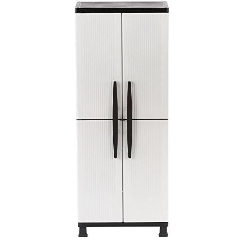 27 in. W 4-shelf Plastic Multi-purpose Tall Cabinet with Lockable Doors in Gray by HDX