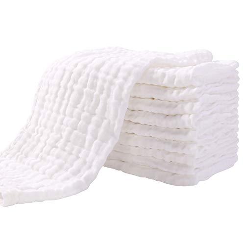 """Muslin Burp Cloths for Baby 10 Pack 100% Cotton Baby Washcloths Large 20""""X10"""" Super Soft and Absorbent by YOOFOSS…"""
