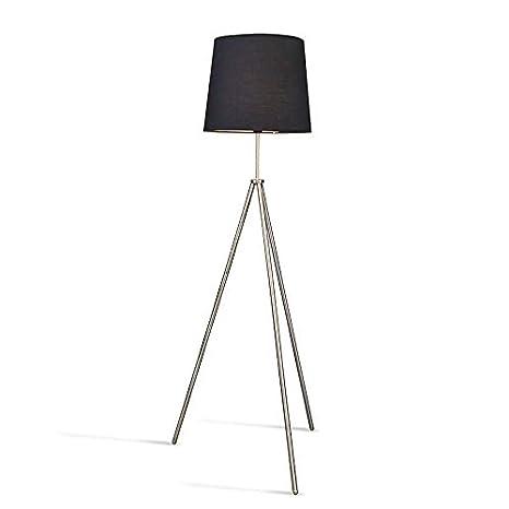 QAZQA Moderno Lámpara de pie TRIPODE acero con pantalla ...
