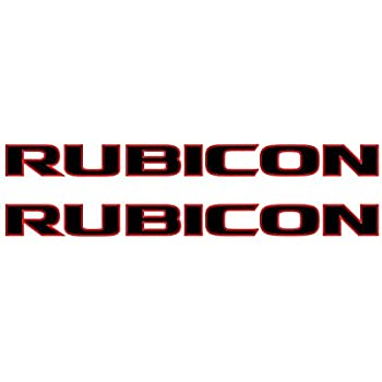 Jeep wrangler rubicon 10a style 2 color hood decal sticker pair black with red outline die
