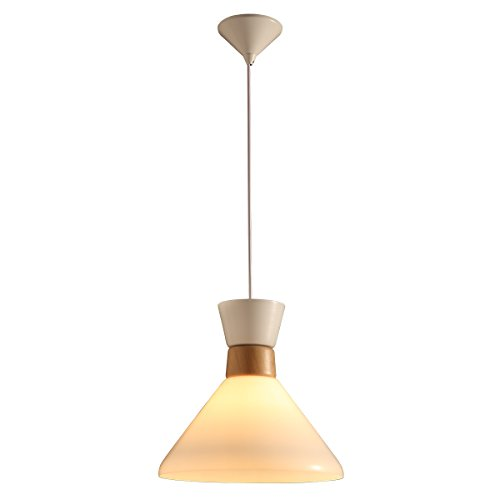 GlanzLight GL-61046,Simple Pendant Lamp,Adjustable Hanging Light White 1 Light,Downlight Pendant Light Fixtures for Dining Hall Living Room Metal