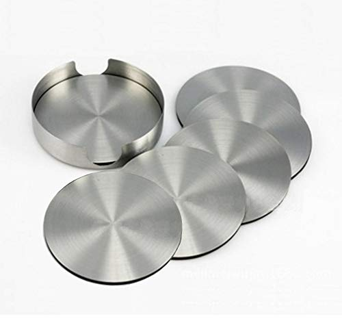 Nicedec Set of 6 Stainless Steel Drink Coasters with Rubber Back, 4 inch Large Size Wine Coasters plus A Stainless Steel Holder