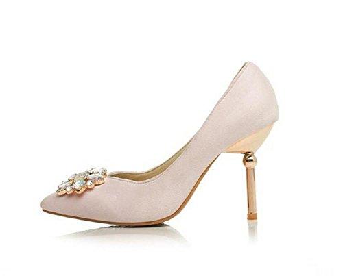 Mat doudoune chaussures à talons hauts bouche superficielle grande fleur diamant chaussures de cour décoration , pink , 39