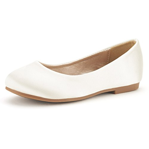 Dream Pairs MUY Mary Jane Casual Slip On Ballerina Flat (Toddler/ Little Girl) New IVORY SATIN SIZE 12