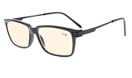 Eyekepper Quality TR90 Frame Noline Bifocal Progressive Multifocus Glasses 3 Levels Vision Reading Glasses Anti Glare (Yellow Tinted Lenses, Black), Optical center about +1.55 (label is - Glasses Reading Bifocal Tinted