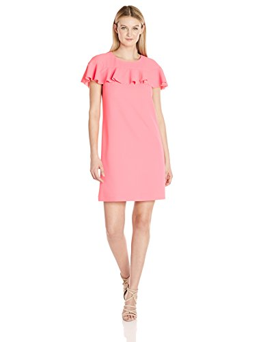 (Trina Turk Women's Splash Ruffle Sleeve Dress, Guava,)