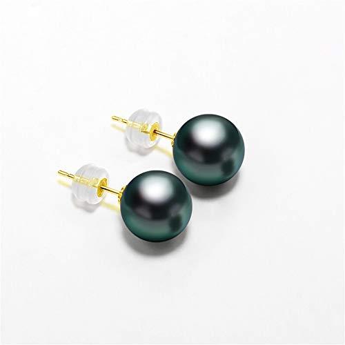 18K Solid Gold 10-10.5mm Genuine Black Tahitian South Sea Cultured Pearl Stud Earrings for Women